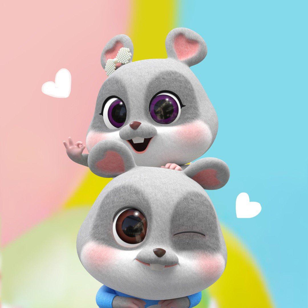 hình ảnh cặp đôi chuột chibi cực dễ thương số 1