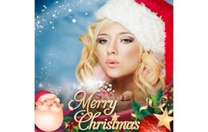 Ghép ảnh vào khung Merry Christmax ông già Noel lung linh sắc màu